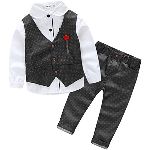 Boys Formal Dresswear Vest Set Summer Boys Gentleman Outfits Suits Classic Long Sleeve Shirt and Vest 3 PCS Set Black 6T -