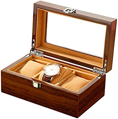 3 Ranuras de Madera Caja de Reloj, Caja con Tapa de Cristal, sostenedor del Reloj con el Reloj de Almohadas extraíbles, exhibición de la joyería de Lujo con Cierre Broche: Amazon.es: Hogar