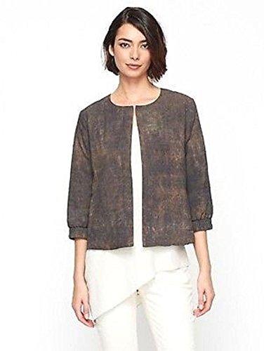 Rye Silk - Eileen Fisher Terra Silk Print Bomber Jacket Rye Size XXS MSRP $298