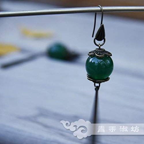 TKHNE Custom Qing He Fang Shu Tang style antique lantern agate earrings Ji} {cream retro classical Chinese clothing accessories