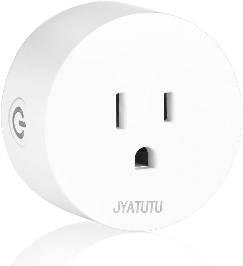 JYATUTU Smart Plug, WiFi Outlet Compatible with Alexa, (2.4GHz Network, Timer, Scheduling) Voice Control with Google Home, Support iFTTT, Smart Outlet for Control Your Devices from Anywhere