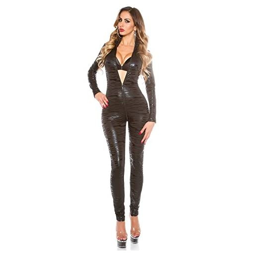 FASHION QUEEN Fashio Queen Women's Sexy Faux Leather Zebra Patterned Bodysuit Zipper to Crotch Catsuit