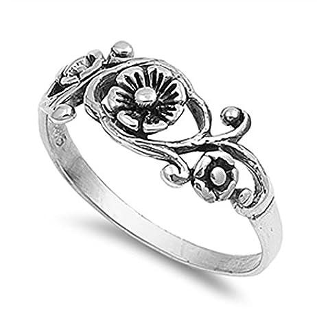 VE-01008 Sterling Silver Antique Filigree Flower Band Ring (10) (Antique Ring Band)