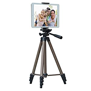 """APRO 50-inch Lightweight Aluminum Tripod for Phone Camera Tablet ipad + 2 in 1 Holder Mount Fits Smartphone(Width 2""""-3.2"""") and Tablet (Width 4.3""""-7.2"""")"""