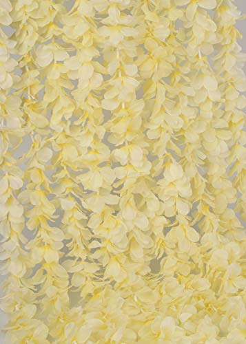 LUSHIDI-328Ft-Artificial-Silk-Wisteria-Vine-Hanging-Flowers-Garland-Home-Outdoor-Wedding-Arch-Garden-Wall-DecorPack-of-10-Champagne