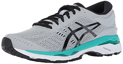 ASICS Women's Gel-Kayano 24 Running Shoe, Mid Grey/Black/Atlantis, 9 Medium US -