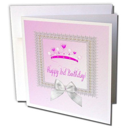 Beverly Turner Birthday Design - Princess Crown Beautiful Silver Frame, White Bow, Happy 2nd Birthday - 6 Greeting Cards with envelopes (gc_234626_1)