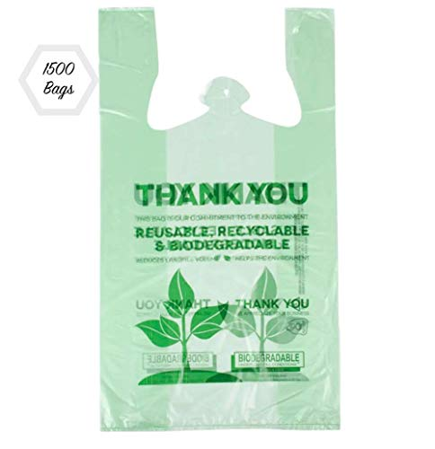 Plastic T- Shirt Thank You Grocery Shopping Bags Biodegradable Reusable Recyclable 1500 ct