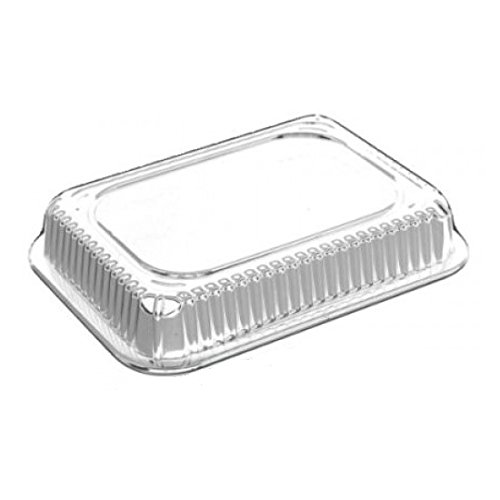 Smart USA 4041, 5-Lbs Oblong Aluminum Foil Pans with Foil Flat Lids, Take Out Baking Disposable Foil Containers with Matching Covers (100)