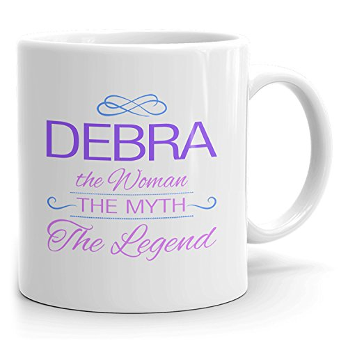 Debra Coffee Mugs - The Woman The Myth The Legend - Best Gifts for Women - 11oz White Mug - Purple