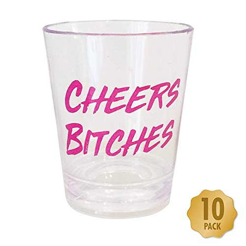 (Funny Party Shot Glasses - Pack Of 10 Transparent With Pink Text Perfect For Bachelorette Parties, Christmas & Birthday's - Jager Bomb - Jello)