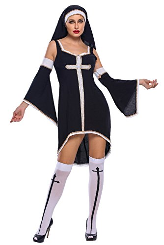 Beatifully Qearl women sex Sinful Nun Costume as shown L