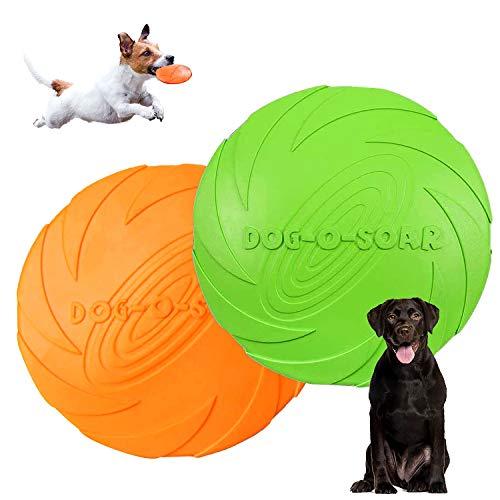 Hunde Frisbees,Hund Scheibe,2 Stück hundespielzeug Frisbee,Gummi Frisbee,für Land und Wasser,Hundetraining, Werfen…