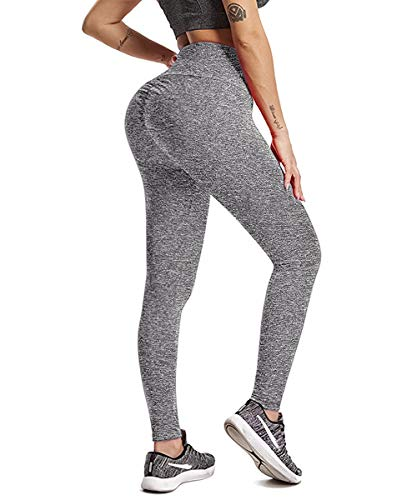 (HURMES Women's High Waist Yoga Pants Scrunch Ruched Butt Lifting Leggings Tummy Control Booty Push Up Workout Tights Grey)