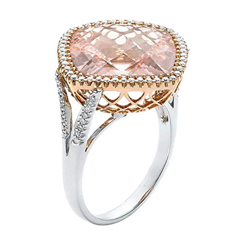Luxurious Fashion Band Cubic Zirconia Pink Champagne Hollow Ring for Women Jewelry