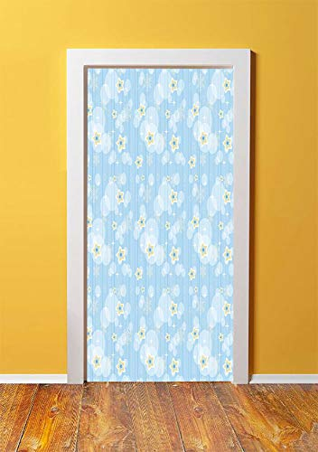 Winter 3D Door Sticker Wall Decals Mural Wallpaper,Cute Kids Baby Pattern Night Sky with Soft Colored Stars New Year Theme,DIY Art Home Decor Poster Decoration 30.3x78.11272,Baby Blue Yellow White