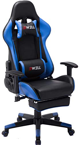 Computer Gaming Chair, Height Adjustable Swivel PC Chair with Retractable Footrest Headrest and Lumbar Massager Cushion Support Leather Reclining Executive Office Chair (Black&Blue)