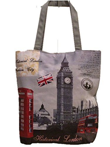 Lady girl's Women's London Skyline Printed Shopper Handbags, Souvenir Novelty Tote Handbags Historical London