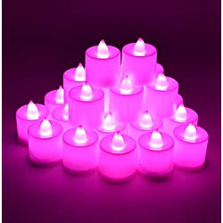 Samyo Set of 24 Battery Flameless & Smokeless LED Tealight Candles - Pink Candlelight