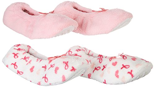 Capelli Womens 2-pk. Pink Ribbon Slippers Large Pink/white