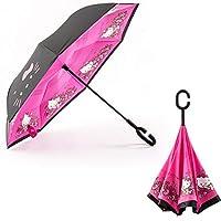 FuLanDe Inverted Umbrella C-Shaped Handle Inside Out Windproof Umbrella Upside Down Reverse Umbrella Double Layer Travel Umbrella