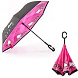 FuLanDe Inverted Umbrella C-Shaped Handle Inside Out Windproof Umbrella Upside Down Reverse Umbrella Double Layer Travel Umbrella (Hello Kitty)