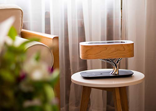 Tree of Light - Bedside Table Lamp with Built-in Bluetooth Speaker and Wireless Charger for Bedroom, Office, Living Room, Stepless Dimming Desk Lamp with Sleep Mode - Elegant Bedside Lamp with Modern Technology - 3 in 1 Stunning Lamp with Built-in Bluetooth Speaker and Wireless Charger for Bedroom, Office, Living Room. Unique and Stunning Design - Built-In powerful Bluetooth speaker delivering Omni-Directional sound featuring preeminent performance from our dual wave-guide technology. LED Dimming Light with Touch Control - Switch the Light ON /OFF with a light touch. Press and hold the touch area for 3 seconds for Sleep Mode and light will turn off within 30 mins. - lamps, bedroom-decor, bedroom - 41jCDxTR0oL -