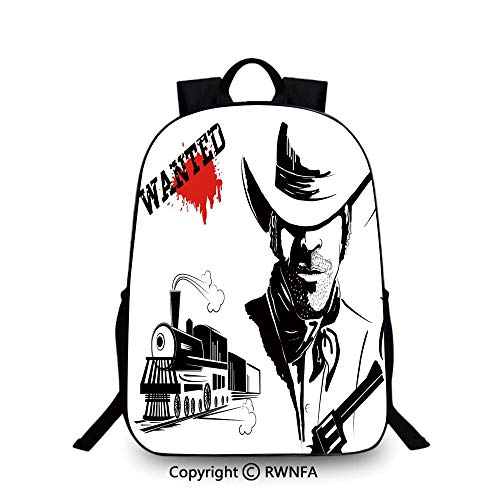 Kids School Backpack,Cowboy Silhouette Portrait Wanted Poster Locomotive Bandit Bloody Robbery Decorative School Backpacks For boys Black White Red ()