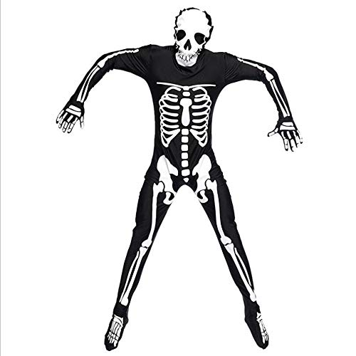 - LNNII - Halloween Party Party Masquerade Costume Men's Skeleton Skeleton Ghost Dress Jumpsuit Role-Playing Game Suit,Black,XL