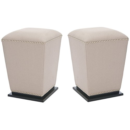 Safavieh Hudson Collection Harper Linen Ottoman, Beige, Set of 2