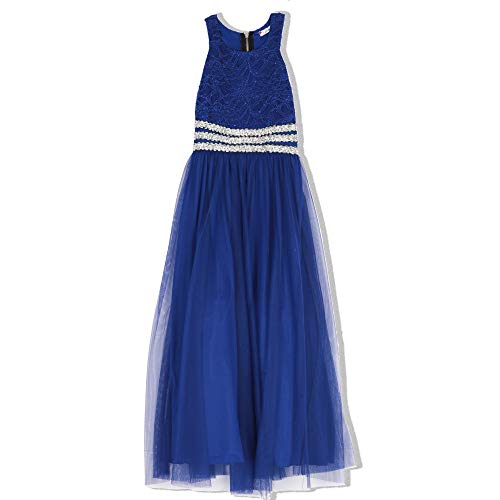 Speechless Girls' Big Lace to Chiffon Maxi Dress, Cobalt Blue -
