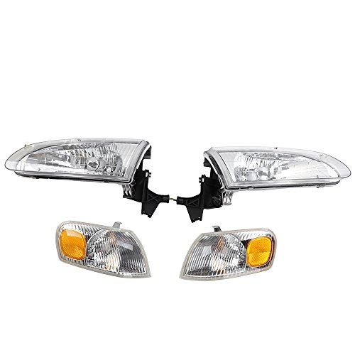 (2PC Front Left Right Car Headlights Headlamps & 2PC Corner Parking Lights Kit Housing Replacement for 1998 1999 2000 Toyota Corolla CE LE VE Sedan 4-Door)