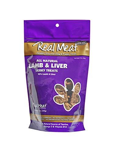 THE REAL MEAT COMPANY 828013 Dog Jerky Lamb Liver Treat, 12-Ounce (Real Meat Venison Jerky Dog Treats 12 Oz)