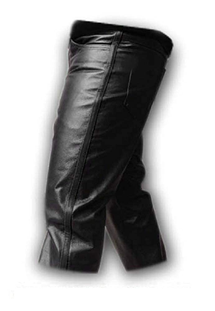 Mens Real All Black Cow Leather Jeans Biker Jeans Pants Trousers