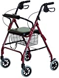 Walkabout Lite Rollator: 12lbs; removable wire basket; loop locking brake; Royal Blue