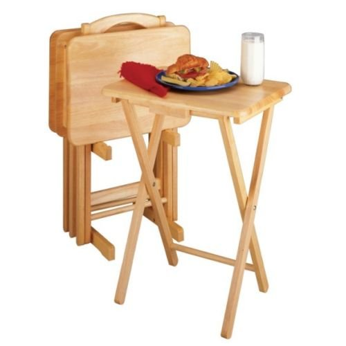 5 Piece Tray Table Set Wooden TV Card Game Laptop Snack Craft Dinner Serving NEW (Dinner Tables Tray)
