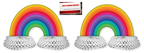 Rainbow Honeycomb Paper Centerpiece Decoration Pack of 2 Plus Party Planning Checklist]()