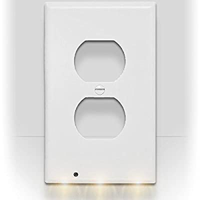 SnapPower Guidelight - Outlet Coverplate with LED Night Lights (White, Black, Ivory, Light Almond)
