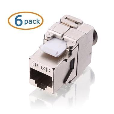 Cable Matters (6 Pack) RJ45 Cat6A Shielded Metal Keystone Jacks