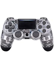 eXtremeRate Transparent Crystal Clear Front Housing Shell Faceplate Cover for Playstation 4 PS4 Slim PS4 Pro Controller (CUH-ZCT2 JDM-040 JDM-050 JDM-055)