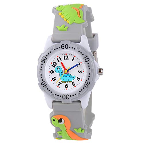 Venhoo Kids Watches Cute 3D Cartoon Waterproof Silicone Children Toddler Wrist Watch Time Teacher Birthday Gift 3-10 Year Boys Girls Little Child-Gray Cute Dinosaur
