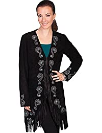 Women's Embroidered Fringe Long Suede Leather Jacket - L165-19