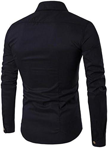 ドレスシャツ メンズ 長袖 サイドダブルボタン デザイン アシンメトリ レギュラーカラー スリムフィット カットソー 4色選択 サイズ S ~ XL 【日本向けサイズ仕様】
