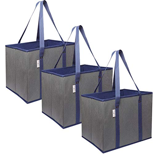 Reusable Grocery Bags Shopping Box Bag (3 Pack)   Collapsible, Durable, Foldable, Heavy Duty Premium Reusable Shopping Bags Tote Box Set for Groceries, Trunk Organizer and Home Storage (Navy/Grey)