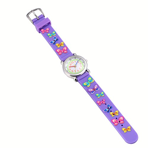 Children Kids Toddler Watches Age 4-7 Time Teacher Watches, Cartoon Character 3D dinosaur Silicone Band Watches (Purple - Butterfly) by Jewtme (Image #2)