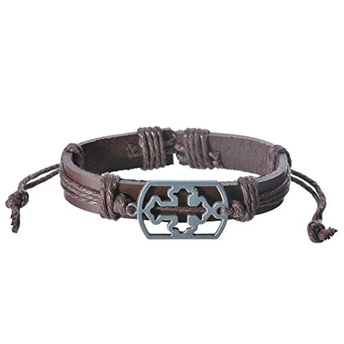 Real Spark Unisex Men Brown Cord One Piece Cross Metal Charms Leather Wrap Bracelet