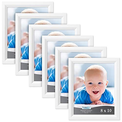 (Icona Bay 8x10 Picture Frame (6 Pack, Aspen White Wood Finish), Black Photo Frame 8 x 10, Composite Wood Frame for Walls or Tables, Set of 6 Cherished Memories Collection)