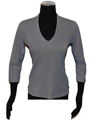 Linda Leal Women's 3/4 Sleeve V-neck Large Grey Marble (Microfiber V-neck)