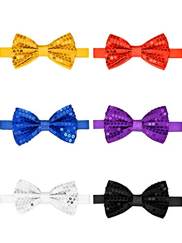 Yaomiao 6 Pieces Sequin Bow Tie Double-layer Pre-tie Bow Ties with Adjustable -