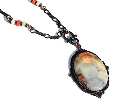 Rusted Iron Pewter Tangerine Orange Cameo Necklace, B'sue by 1928, Blue, Vintage Style, ()